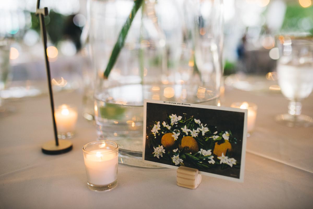 orange blossom table number card for wedding