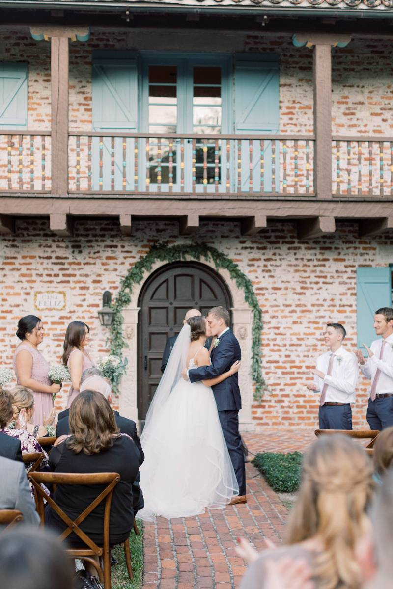 Winter Park bride and groom's first kiss.