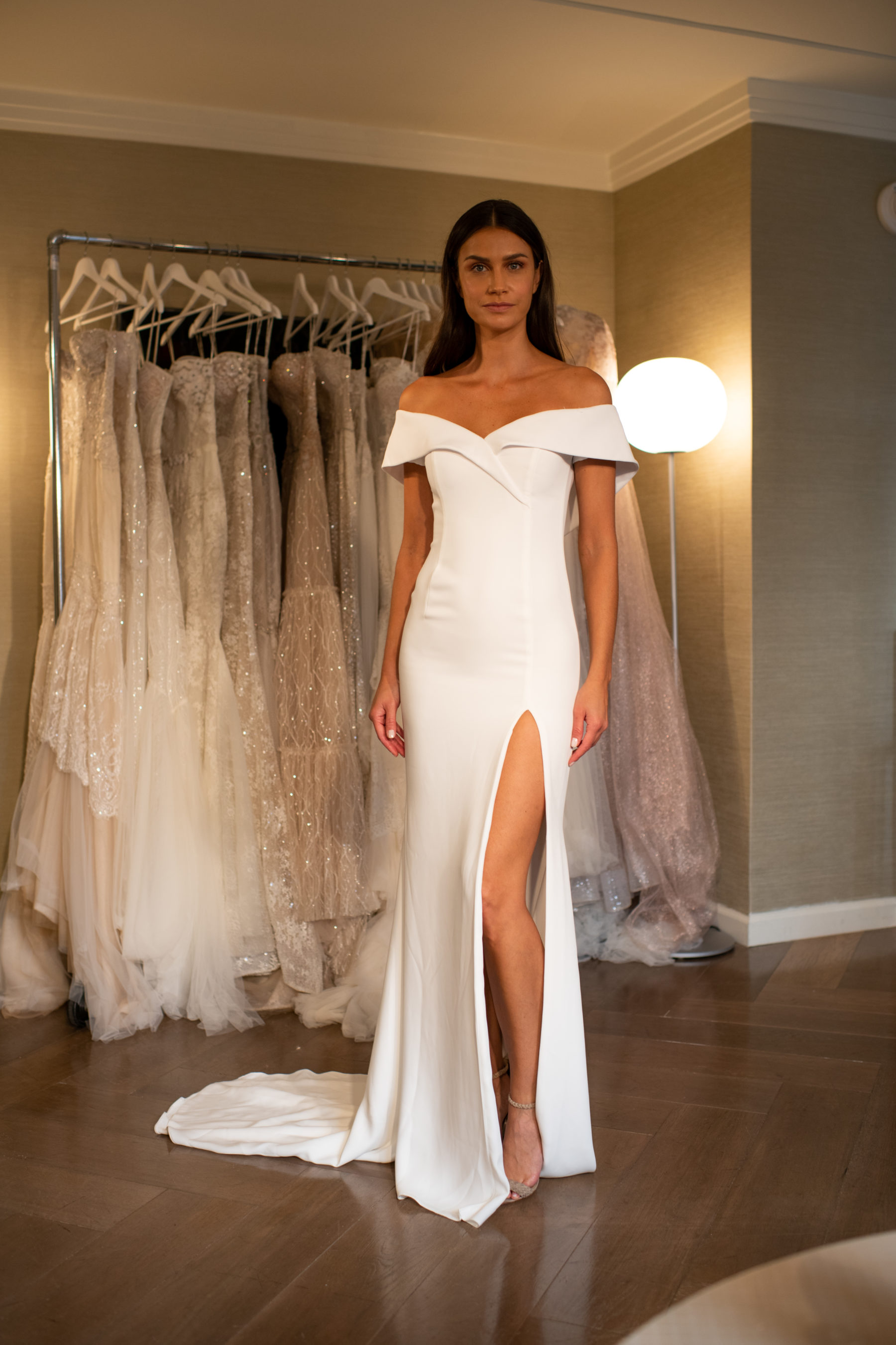Netta BenShabu crepe wedding of the shoulder wedding gown.