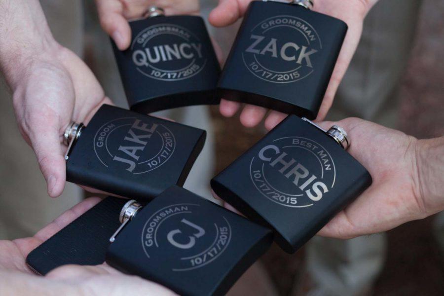 black groomsmen flasks with names on it