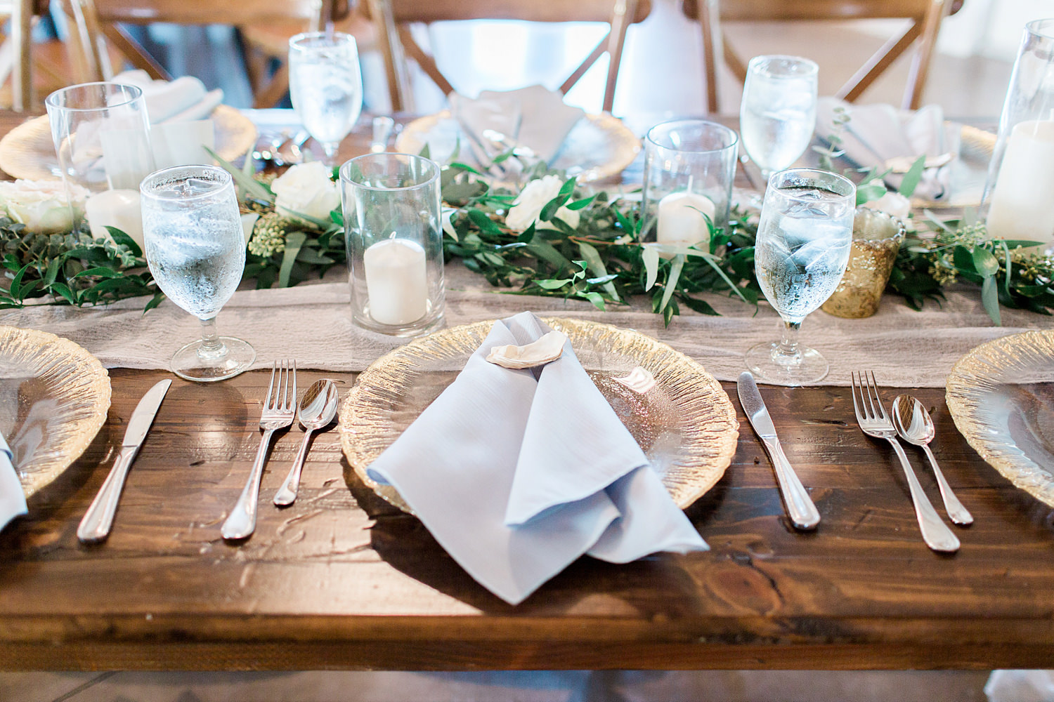 Tablescape using gold and grey.