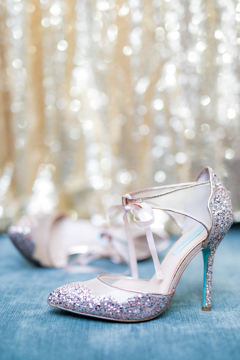 Sparkly silver wedding heels.