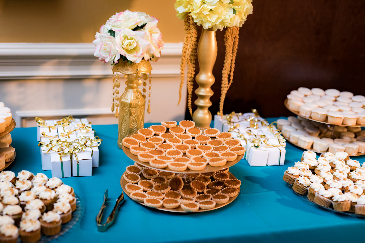 Dessert table for a wedding reception.