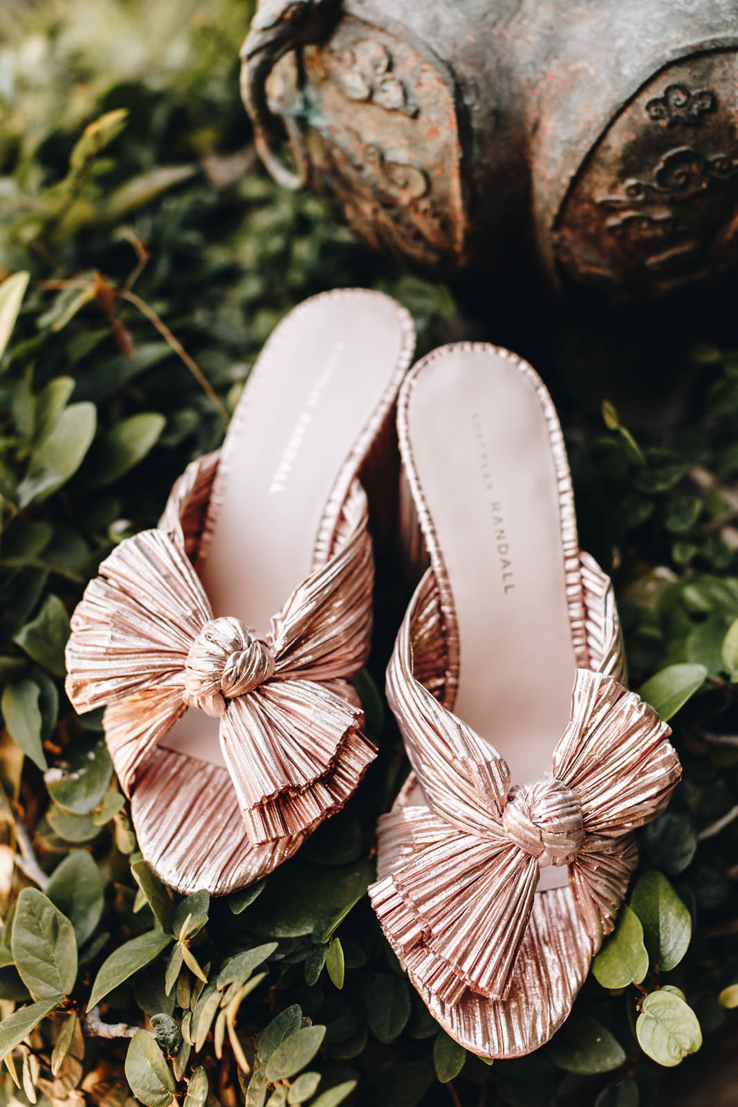 Backless blush wedding shoes. Open toed, bohemian in style.