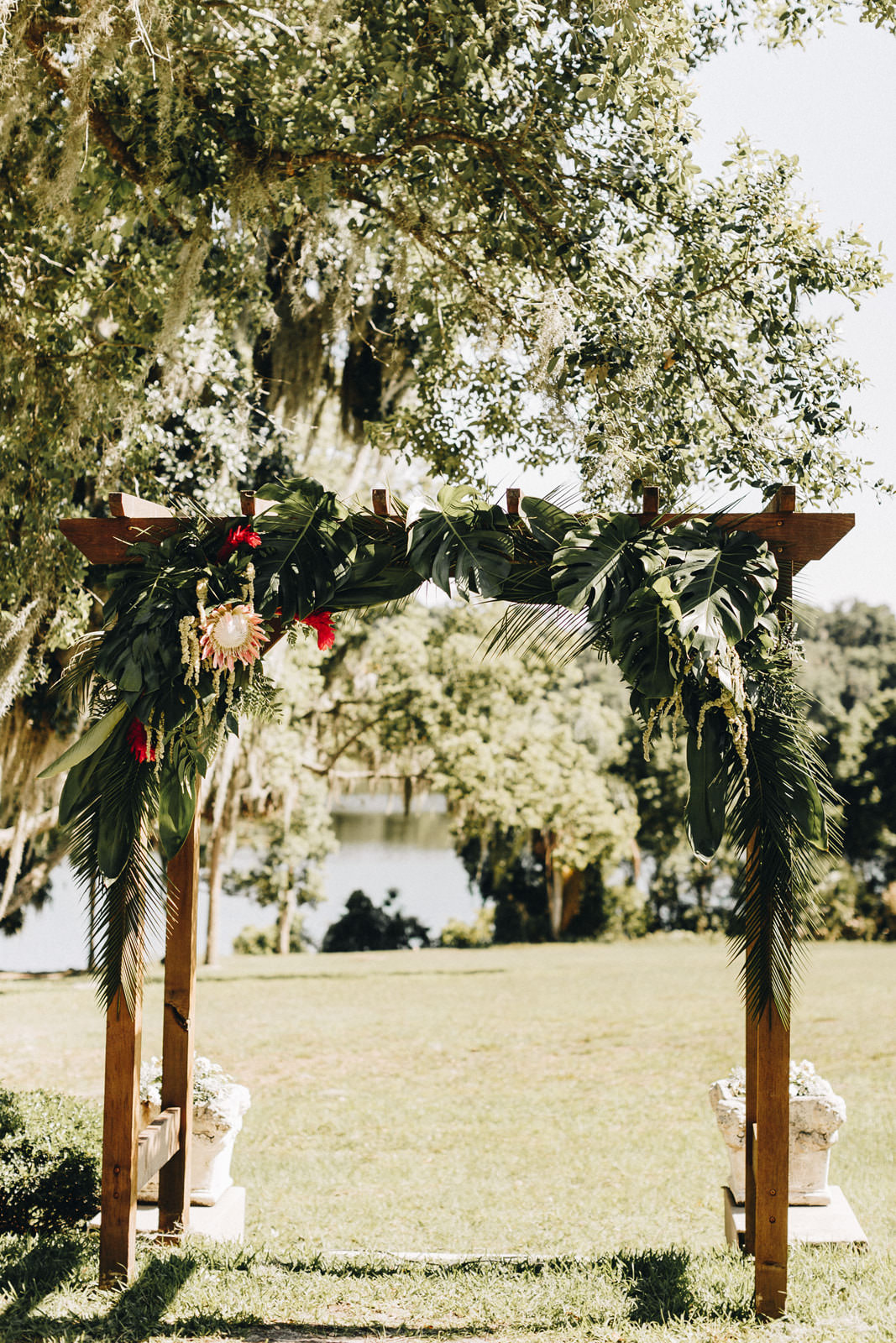 Wedding ceremony arch with king protea and loose greenery. It looks tropical