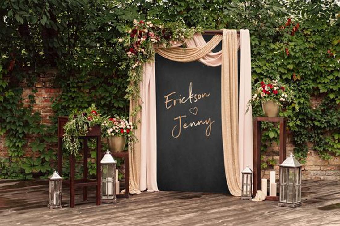 Custom wedding ceremony backdrop from Etsy