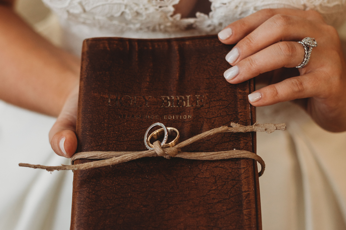 Bride holding a bible on her wedding day