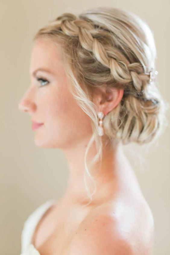 bride with updo and braid on the side