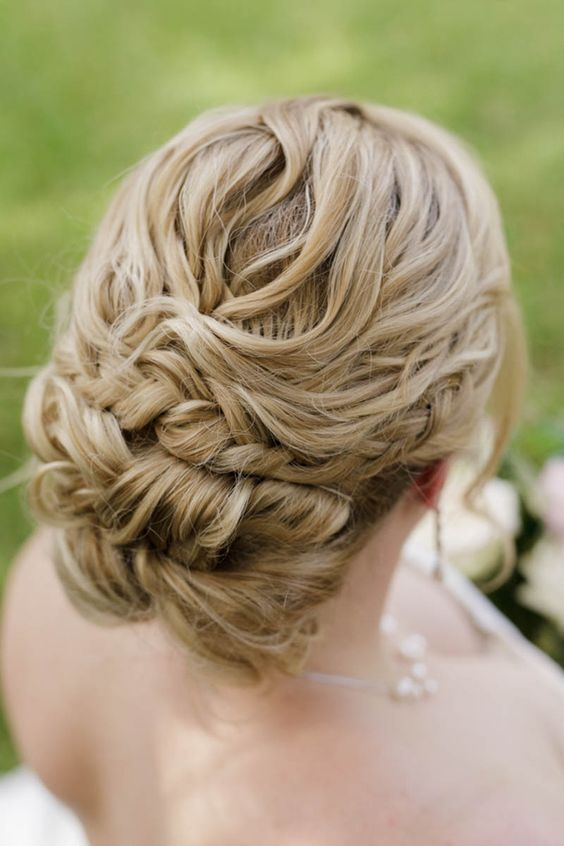 blonde hair bride with bridal updo with braids