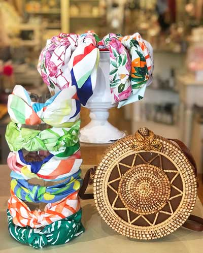 colorful cloth headbands on display at Primrose Shop