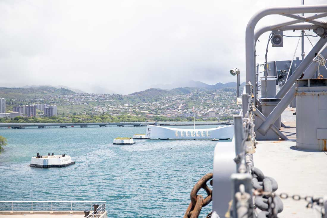 view from the USS Missouri overlooking the USS Arizona Memorial at Pearl Harbor