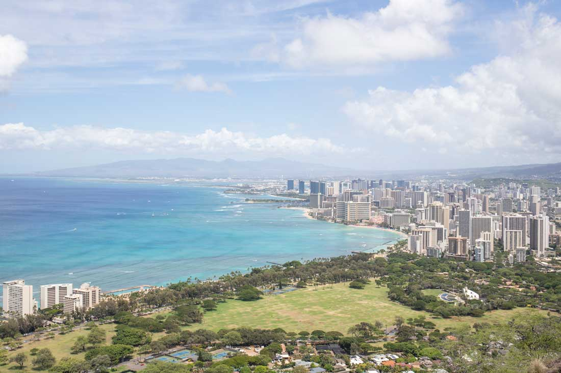 View at Diamond Head overlooking Waikiki Beach in Oahu