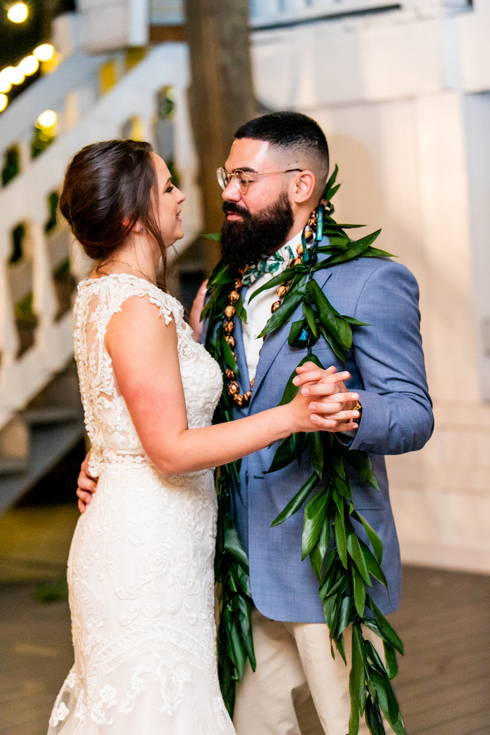 couple's first dance at wedding reception