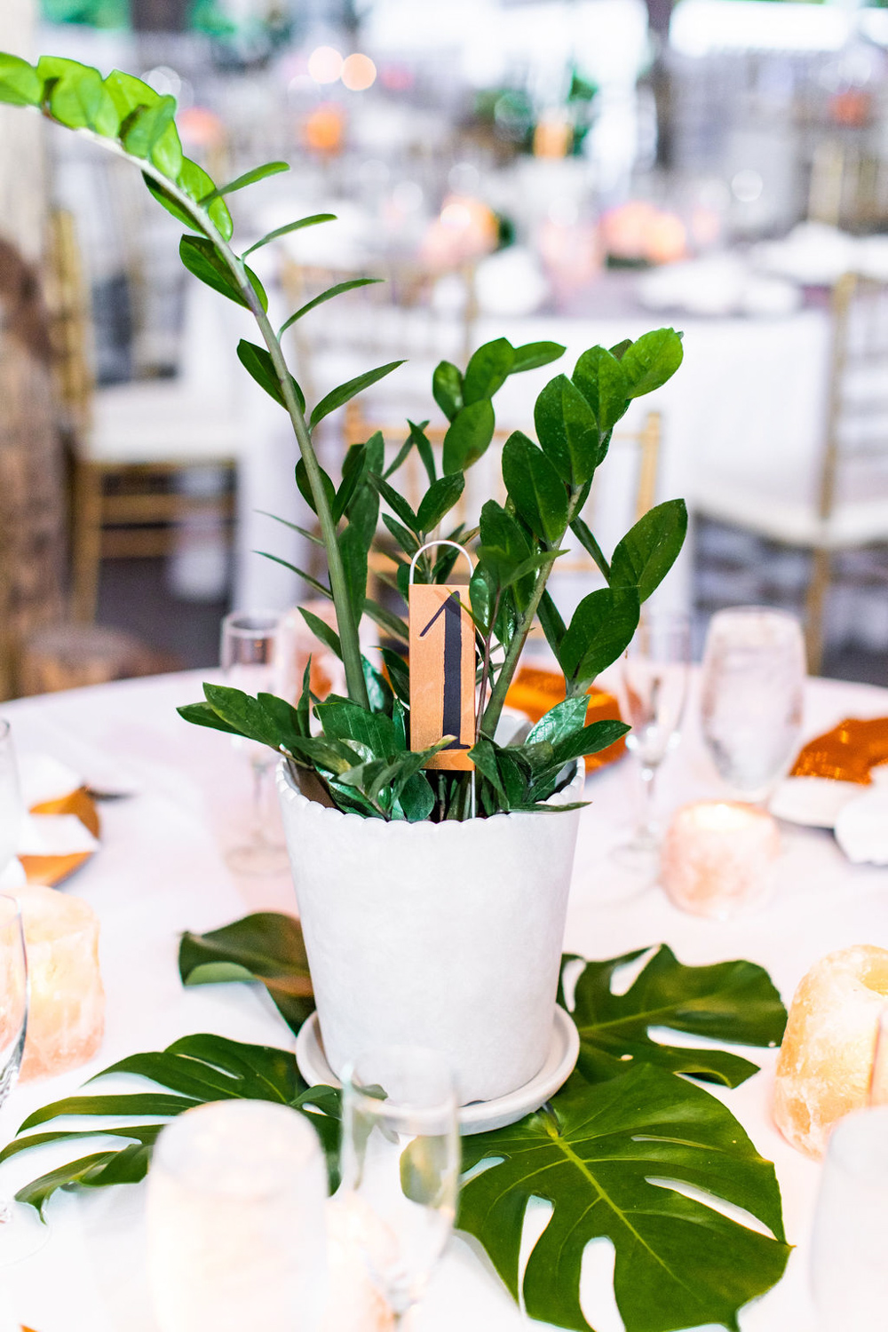 tropical table number in white planter pot