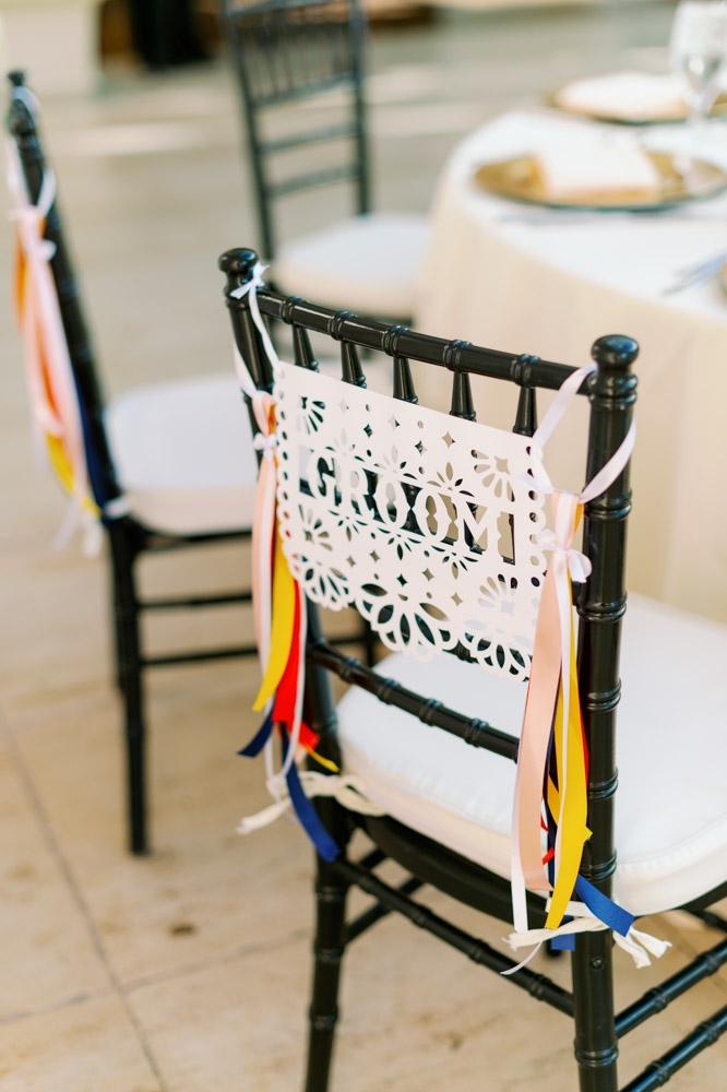 Mexican style groom chair sign for wedding at the Alfond Inn