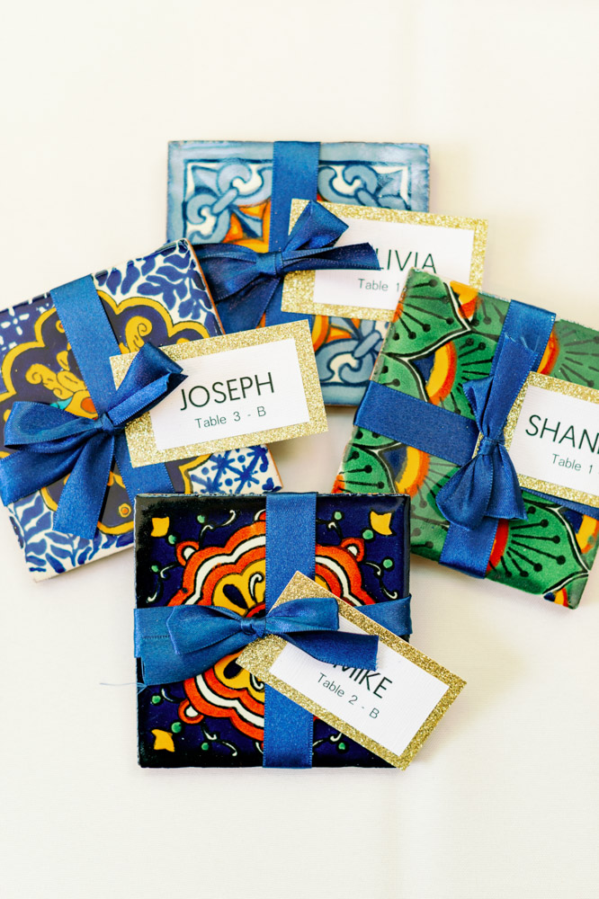 Mexican style design tiles used as escort cards