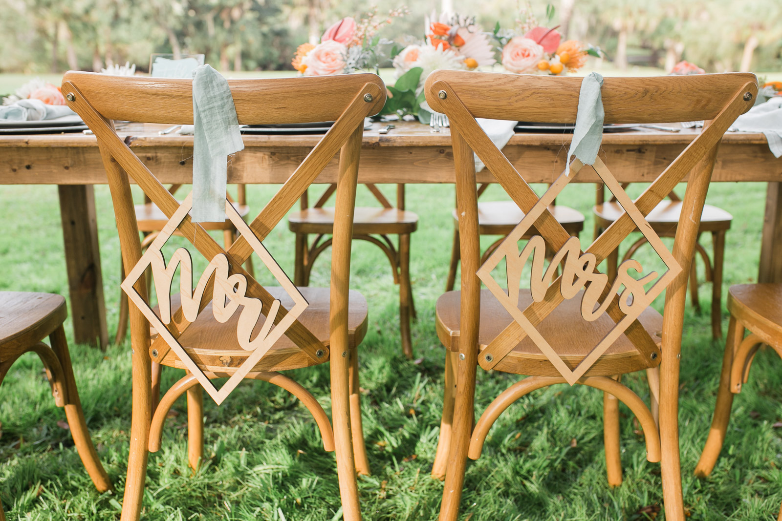 Mr and Mrs chair hangers on french country chairs