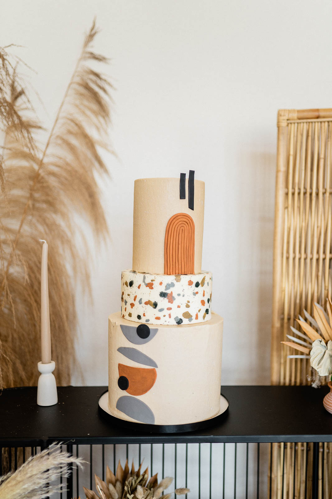 Modern wedding cake with terrazzo details