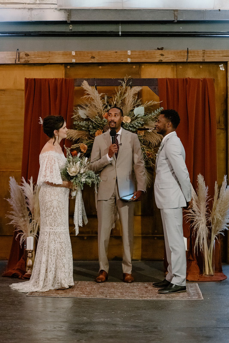 bride and groom renewing wedding vows