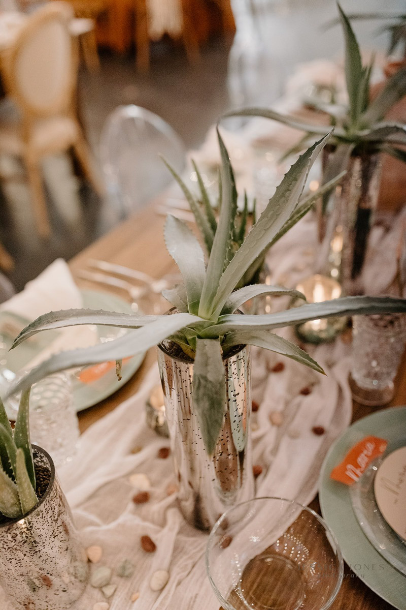 succulent plant in silver mercury glass for wedding reception table