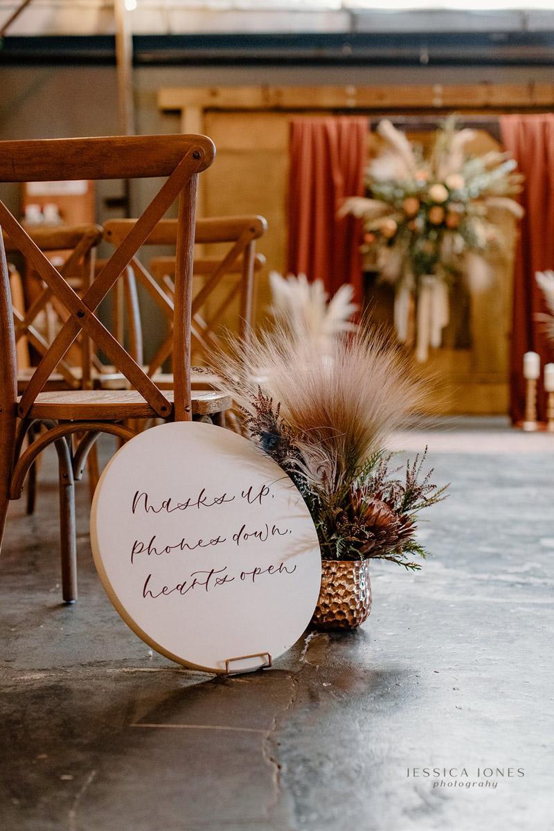 Round boho style wedding sign for wedding ceremony